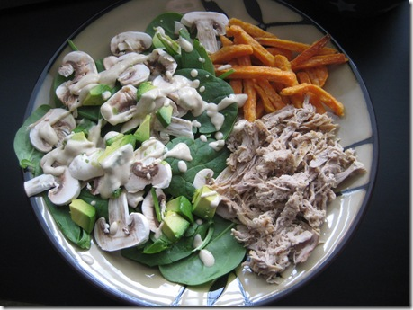 salad, pulled pork, sweet potato fries