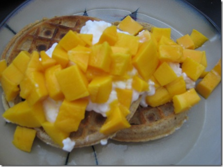 waffles and mango