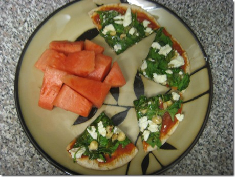 spinach pizza and watermelon